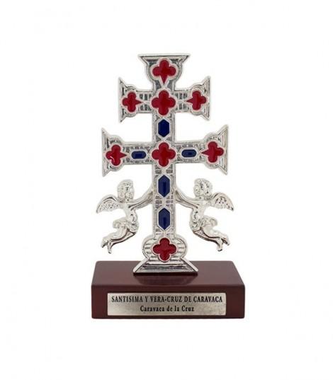 Cruz de Caravaca y Ángeles con Peana de Madera 13 cm