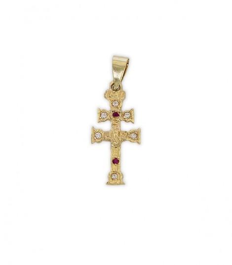 Cruz de Caravaca de Oro y Piedras Rojas y Blancas Pequeña