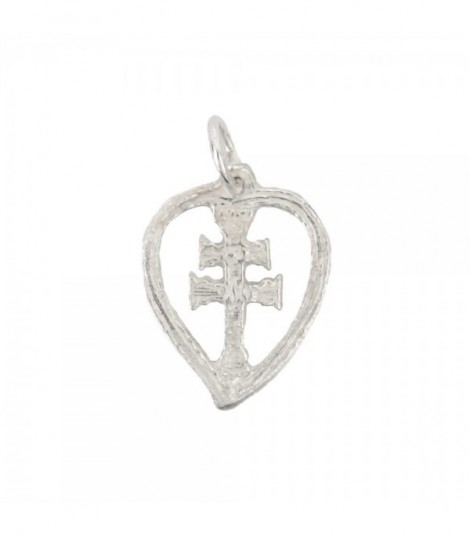 Colgante De Plata Con Cruz De Caravaca Corazón
