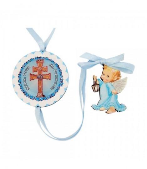 Medallón De Cuna Azul Con La Cruz De Caravaca